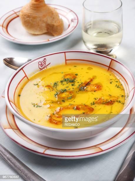 Harry's Bar Restaurant. Zuppa Di Scampi. Prawn Soup. Venice. Veneto. Italy. Europe.