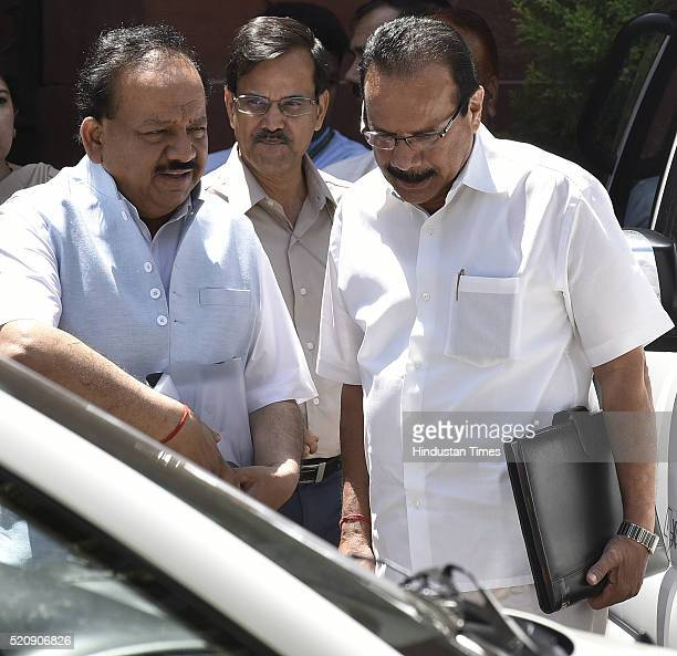 Harsh Vardhan Union Minister of Science and Technology along with Sadananda Gowda coming out after attending the Cabinet Meeting at PM Office South...