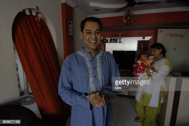 Harshwardhan Nawathe Deputy GMNandi Foundation and winner of Kaun Banega Krorepati in 2001 with wife Sarika and son Saransh at his house in Mumbai