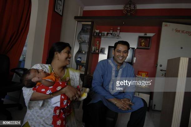 Harshwardhan Nawathe Deputy GMNandi Foundation and winner of Kaun Banega Krorepati in 2001 with wife Sarika and son Saransh at his house in Mumbai