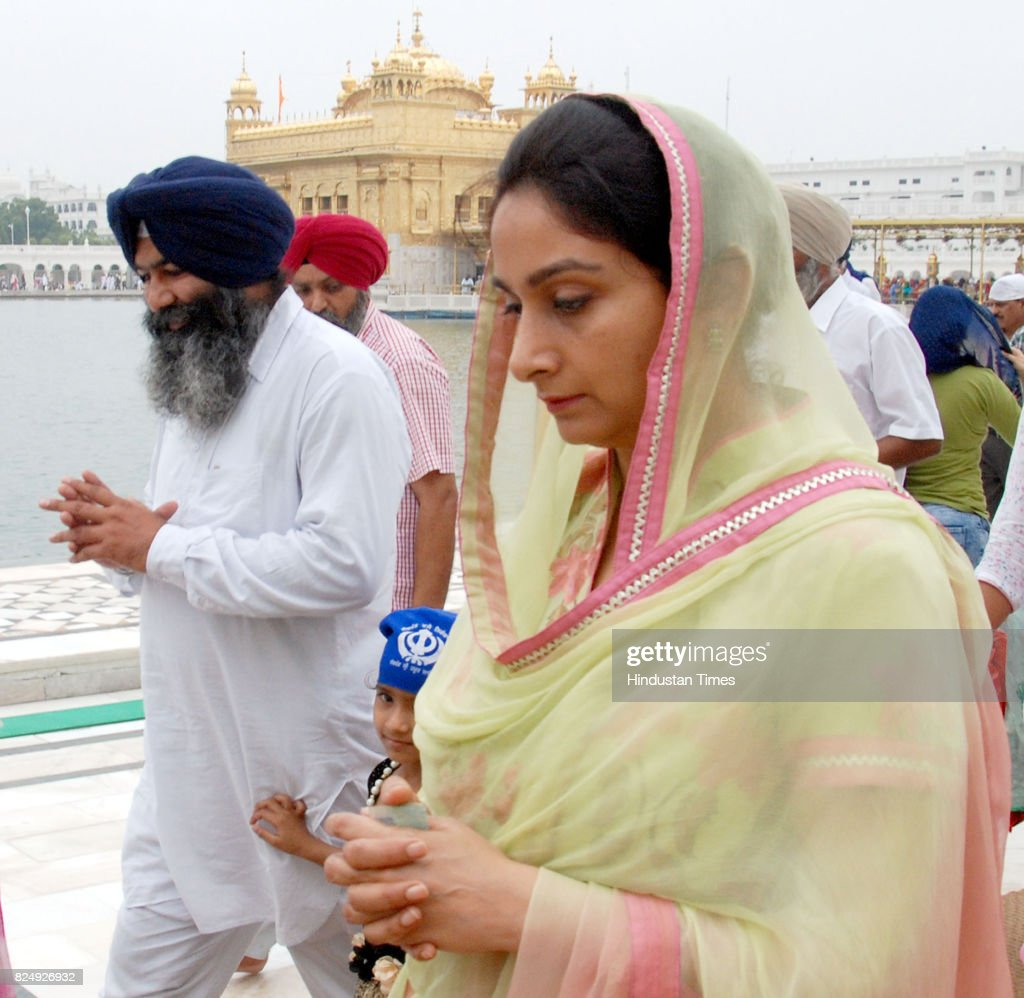 Harsimrat Kaur Badal Union Minister for Food Processing Industries pays obeisance at Golden Temple on July 31 2017 in Amritsar India