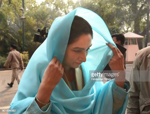 Harsimrat Kaur during the last day of the parliament winter session at Parliament House on January 5 2018 in New Delhi India The last day of the...