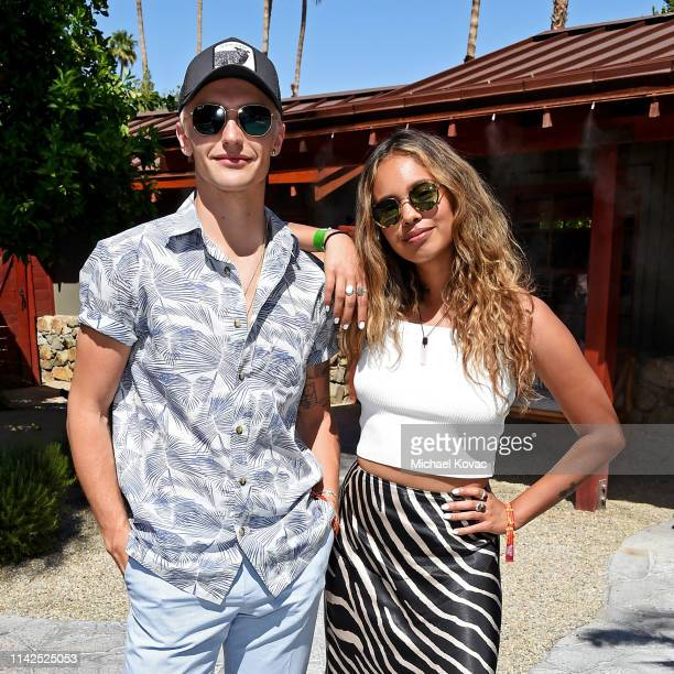 Hart Denton and Alisha Boe attend Poolside with HM at Sparrow's Lodge on April 13 2019 in Palm Springs California