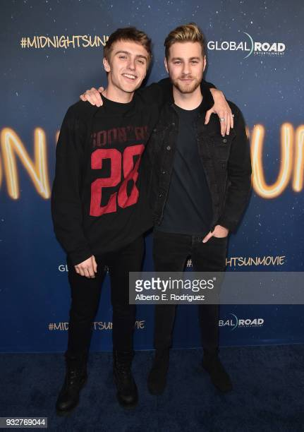 Hart Denton and Cameron Fuller attends Global Road Entertainment's world premiere of 'Midnight Sun' at ArcLight Hollywood on March 15 2018 in...
