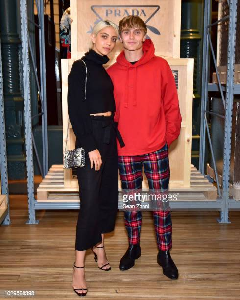Hart Denton and guest attend the Prada Linea Rossa event at Prada Broadway NY on Sept 8 2018
