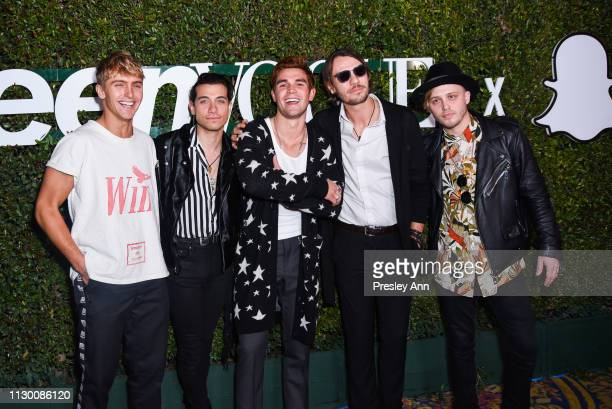 Hart Denton, Rob Raco, KJ Apa, Bradley Merryfield and Josh Wypers attend Teen Vogue's 2019 Young Hollywood Party Presented By Snap at Los Angeles...