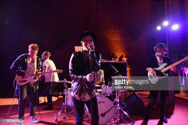 Hart Denton Rob Raco KJ Apa Bradley Merryfield and Josh Wypers of The Good Time Boys perform during Teen Vogue's Young Hollywood Party presented by...