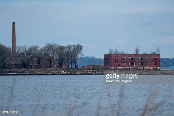 Hart Island seen from City Island on April 8 2020 in New York City Potter's Field on Hart Island may soon be used for temporary COVID19 related...