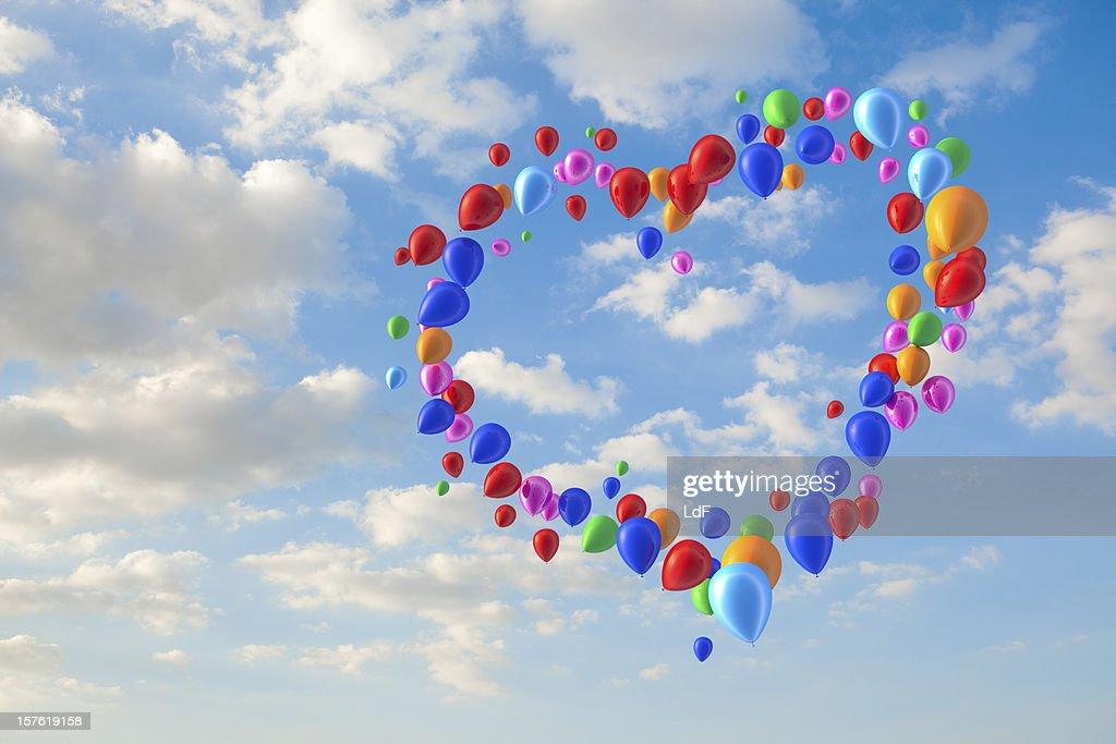 Hart forme fait de montgolfières : Photo