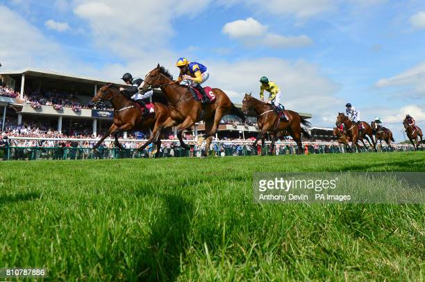 Hart Stopper ridden by Jamie Spencer beats Scofflaw ridden by Adam McNamara to win The Bet365 Handicap Stakes during bet365 Old Newton Cup Day at...