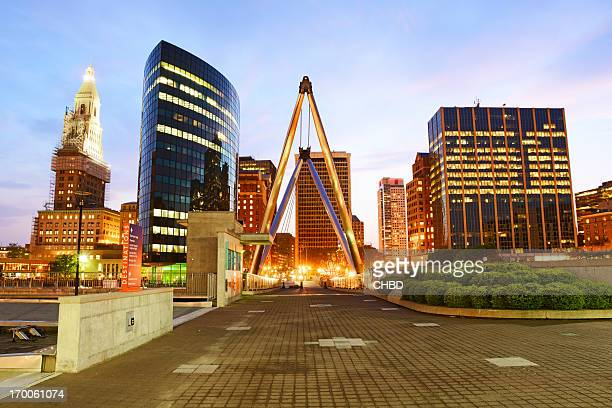 hartford ct at dusk - hartford connecticut stock pictures, royalty-free photos & images
