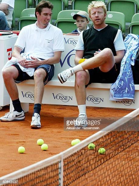 Hartford Revival 2003 Hamburg Training Michael STICH und Boris BECKER/GER