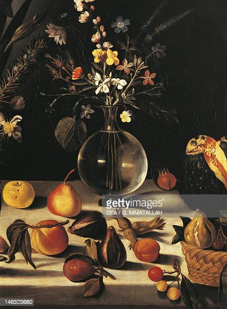 Hartford Wadsworth Atheneum Museum Of Art Still life with flowers and fruit by Michelangelo Merisi da Caravaggio Detail