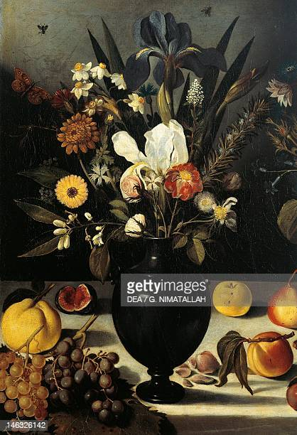 Hartford Wadsworth Atheneum Museum Of Art Still Life with Flowers and Fruit 15901610 by the Master of the Hartford oil on canvas Detail