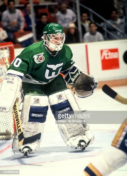 Hartford Whaler goalie Steve Weeks in the nets against the St Louis Blues Hartford CT 1994