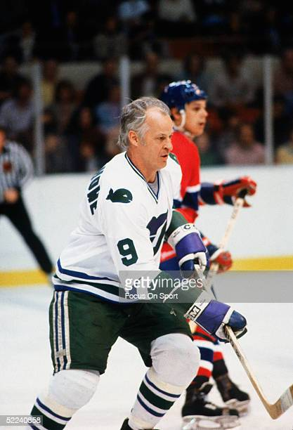 Hartford Whalers' Gordie Howe skates during a game against the Montreal Canadiens at the Hartford Civic Center circa 1980 in Hartford Connecticut