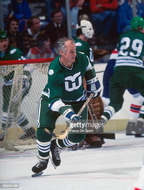 Hartford Whalers' Gordie Howe skates towards the action against the Washington Capitals during a game at Capital Center circa 1979 in Washington DC