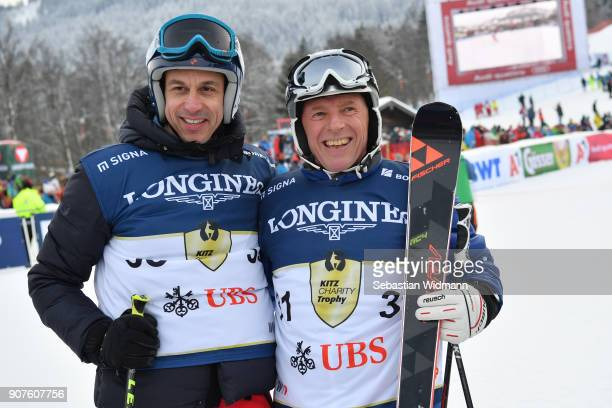 Harti Weirather and Toto Wolff pose for a picture during the KitzCharityTrophy on January 20 2018 in Kitzbuehel Austria