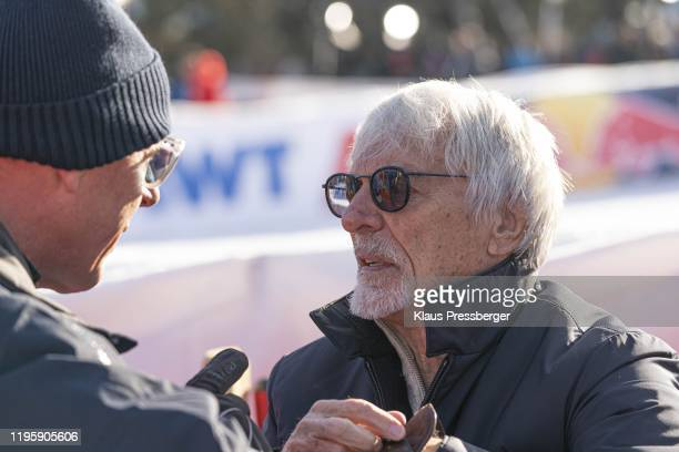 Harti Weirather of Austria and Bernie Ecclestone of United Kingdom during the Audi FIS Alpine Ski World Cup Men's Super G on January 24 2020 in...