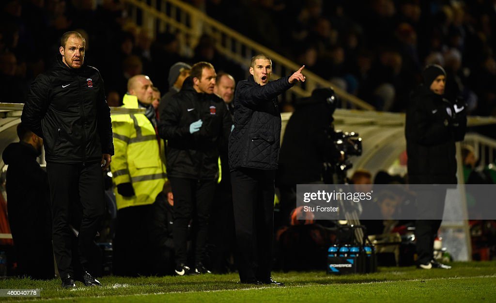 Hartlepool manager Paul Murray (c) reacts during the FA Cup Second round match between Hartlepool United and Blyth Spartans at Victoria Park on December 5, 2014 in Hartlepool, England.