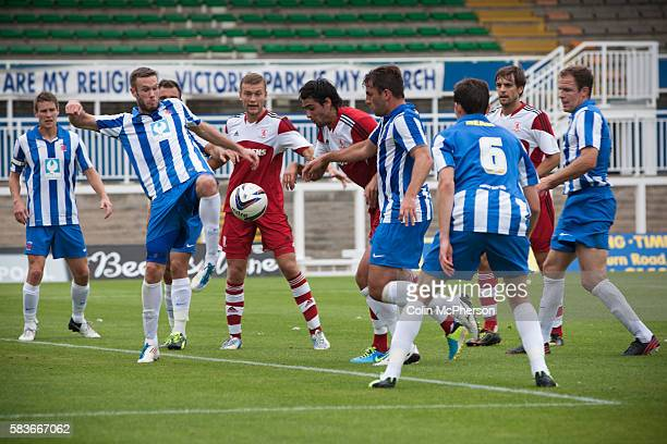 Hartlepool United defending during the firsthalf at the Victoria Ground Hartlepool during a preseason friendly between the home team and...