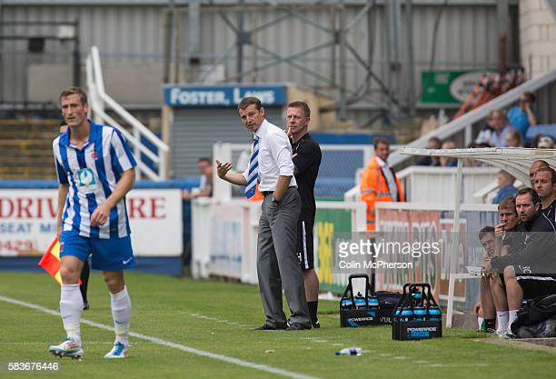 Hartlepool United's manager Colin Cooper watching the firsthalf action at the Victoria Ground Hartlepool during a preseason friendly between the home...