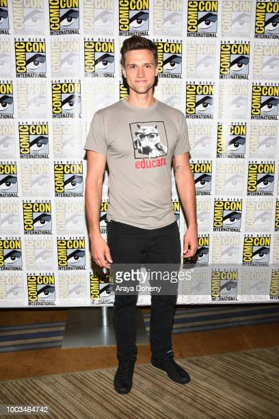 Hartley Sawyer attends the press line for The Flash during ComicCon International 2018 at Hilton Bayfront on July 21 2018 in San Diego California
