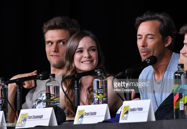Hartley Sawyer Danielle Panabaker and Tom Cavanagh speak onstage at theThe Flash Special Video Presentation and QA during ComicCon International 2018...
