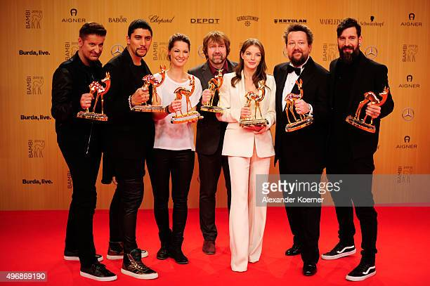 Hartmunt Engler Andreas Bourani Christina Stuermer Tobias Kuenzel Yvonne Catterfeld Sebastian Krumbiegel and Daniel Wirtz are seen with their awards...
