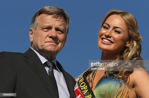 Hartmut Mehdorn Chairman of Berlin Brandenburg International Airport and former Miss Germany Anne Julia Hagen attend the christening of a new Condor...