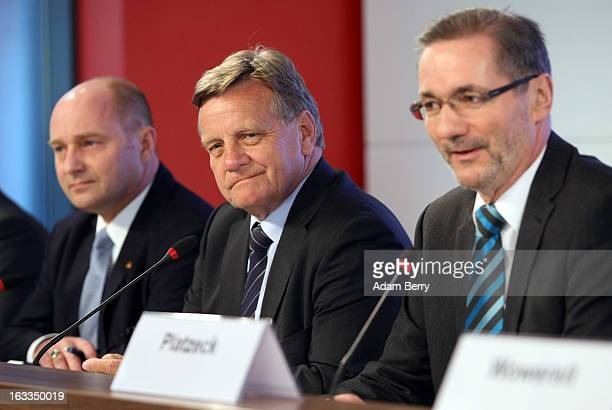 Hartmut Mehdorn, former chief executive of Air Berlin and Deutsche Bahn , German Transport Ministry State Secretary Rainer Bomba and Brandenburg...