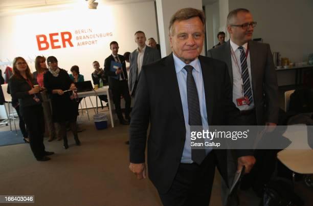 Hartmut Mehdorn head of the management board of Berlin's new Willy Brandt Berlin Brandenburg International Airport arrives to speak to the media...