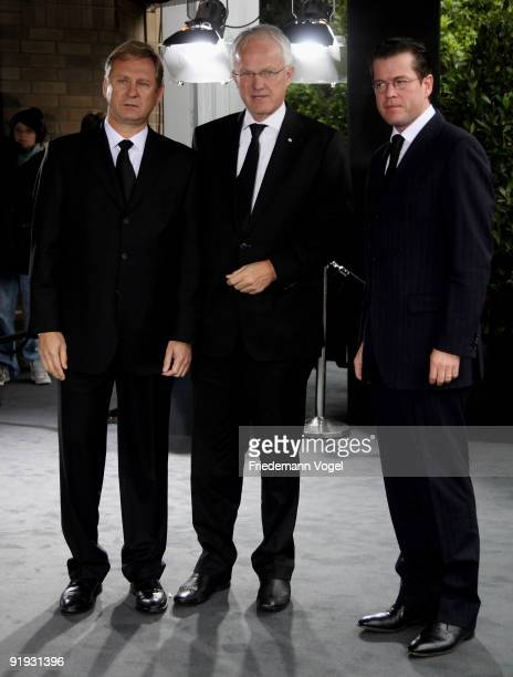 Hartmut Ostrowski CEO of German publishing group Bertelsmann German Economy Minister KarlTheodor zu Guttenberg and NorthRhine Westphalia's State...