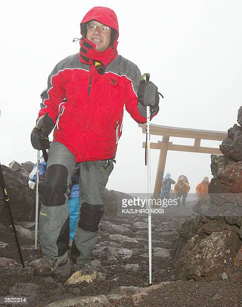 Hartwig Gauder former German Olympic champion arrives on top of the summit of Mt Fuji776metre 19 July 2003 Gauder is on a twoday climbing of Mt Fuji...