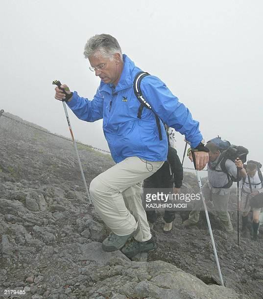 Hartwig Gauder former German Olympic champion climbs Mt Fuji with a transplanted heart to appeal to the people to become donors for internal organ...