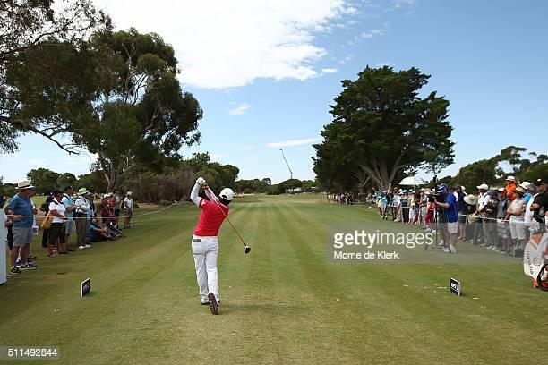 Haru Namura of Japan tees off during day four of the ISPS Handa Women's Australian Open at The Grange GC on February 21, 2016 in Adelaide, Australia.