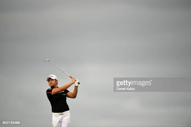 Haru Nomuara of Japan plays a shot during round two of the ISPS Handa Women's Australian Open at Royal Adelaide Golf Club on February 17 2017 in...
