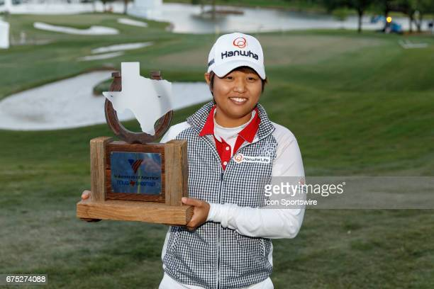 Haru Nomura holds the trophy after winning the LPGA Volunteers of America Texas Shootout in a 6 hole sudden death playoff on April 30, 2017 at Las...