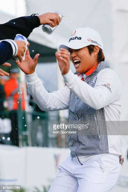 Haru Nomura is doused with beer after winning the LPGA Volunteers of America Texas Shootout on April 30 2017 at Las Colinas Country Club in Irving TX...