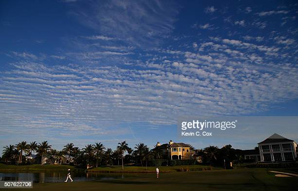 Haru Nomura of Japan and Megan Khang walk the 16th green during the third round of the Pure Silk Bahamas LPGA Classic at the Ocean Club Golf Course...