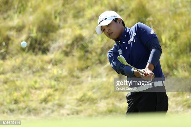 Haru Nomura of Japan chips on the 1st hole during the third round of the Ricoh Women's British Open at Kingsbarns Golf Links on August 5 2017 in...