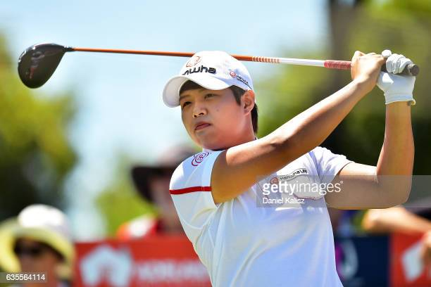 Haru Nomura of Japan drives a shot during round one of the ISPS Handa Women's Australian Open at Royal Adelaide Golf Club on February 16 2017 in...