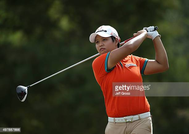 Haru Nomura of Japan hits a tee shot on the third hole during the first round of the CME Group Tour Championship at the Tiburon Golf Club on November...