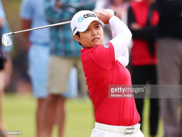 Haru Nomura of Japan hits an approach shot during Day four of the ISPS Handa Vic Open at 13th Beach Golf Club on February 09 2019 in Geelong Australia