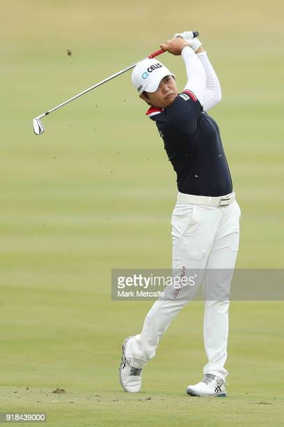 Haru Nomura of Japan hits an approach shot on the 18th hole during day one of the ISPS Handa Australian Women's Open at Kooyonga Golf Club on...