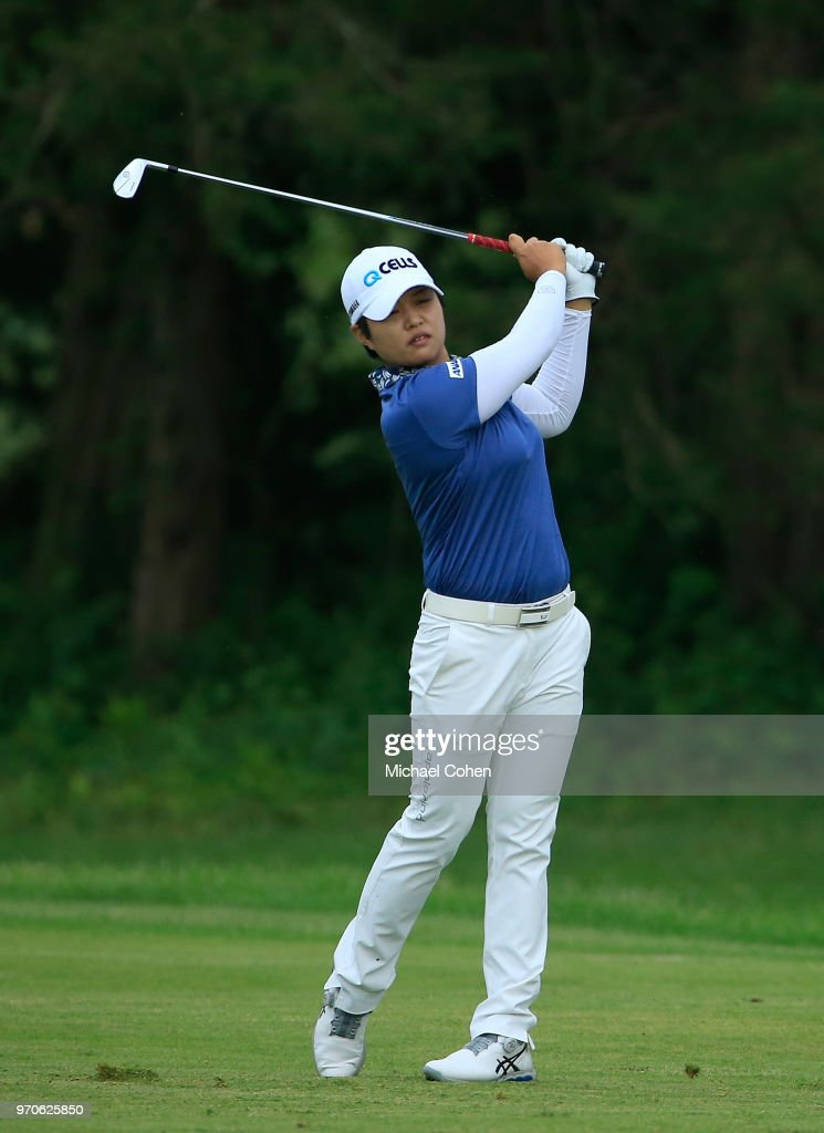 Haru Nomura of Japan hits her second shot on the 13th hole during the second round of the ShopRite LPGA Classic Presented by Acer on the Bay Course at Stockton Seaview Hotel and Golf Club on June 9, 2018 in Galloway, New Jersey.