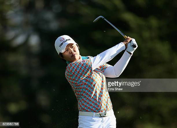 Haru Nomura of Japan hits her second shot on the 16th hole during round three of the Swinging Skirts LPGA Classic at Lake Merced Golf Club on April...