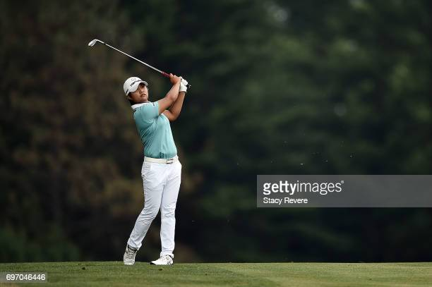 Haru Nomura of Japan hits her second shot on the 17th hole during the third round of the Meijer LPGA Classic at Blythefield Country Club on June 17...