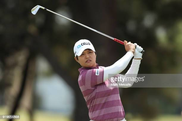 Haru Nomura of Japan hits her second shot on the 1st hole during day three of the ISPS Handa Australian Women's Open at Kooyonga Golf Club on...