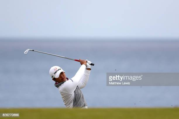 Haru Nomura of Japan hits her second shot on the 4th hole during the second round of the Ricoh Women's British Open at Kingsbarns Golf Links on...